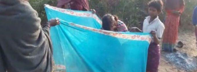 A women gave birth on Road